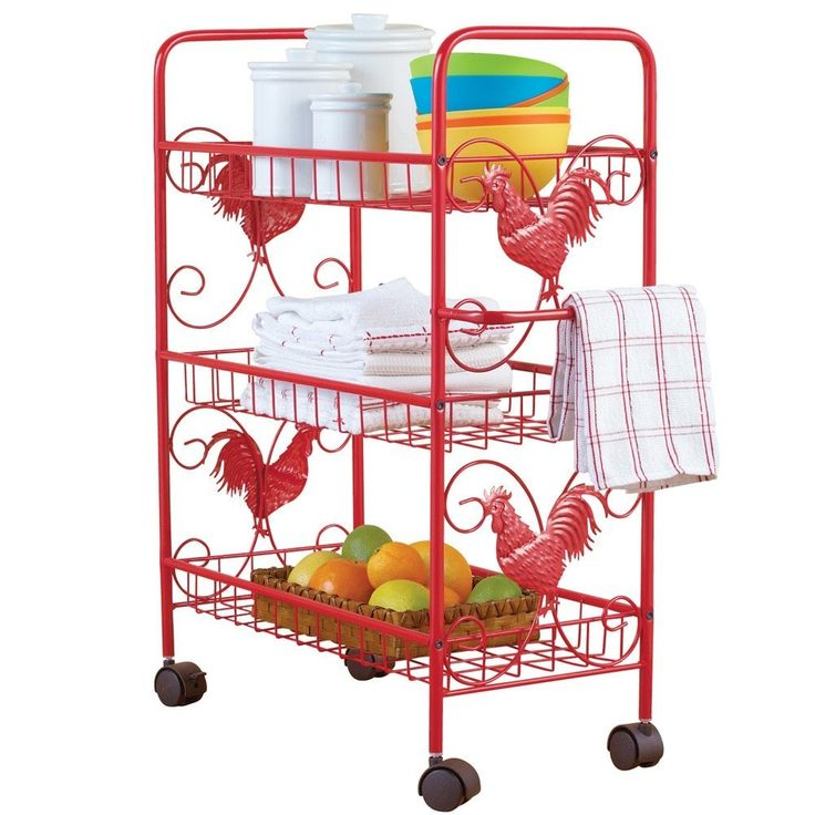 Red Metal Rooster 3 Shelf Rolling Cart KittyKatKoutique  Red Metal Rooster 3 Shelf Rolling Cart    Features 3 tiers, caster style wheels, a towel rack and is decorated with roosters on the sides.  Use the cart to store pantry items, cookbooks and more.  Some assembly required,material is metal.  21″L (23″L with handle/towel rack) x 10″W x 28″H  http://kittykatkoutique.com/red-metal-rooster-3-shelf-rolling-cart/