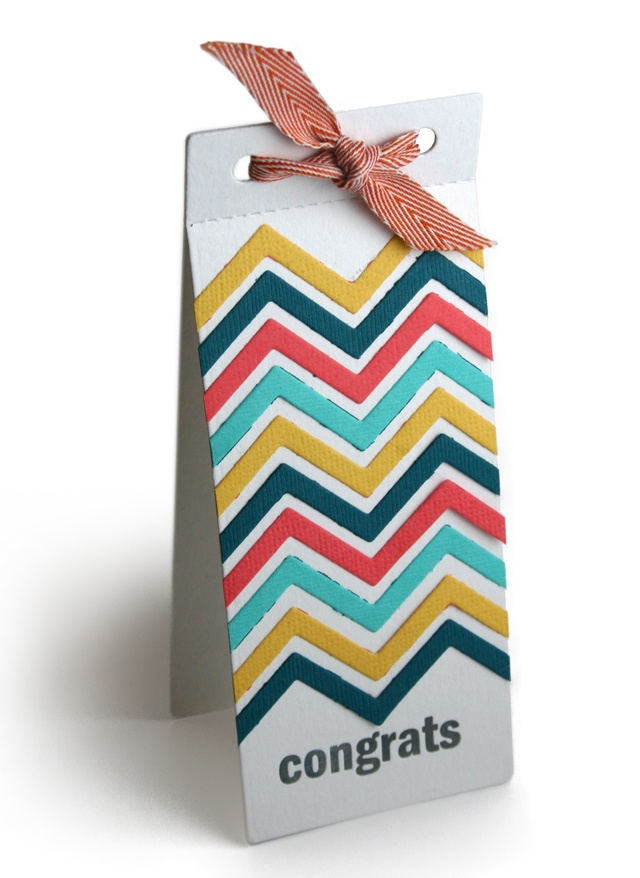 Chevron card using the Chevron die and the Coupon Book die from Lifestyle Crafts.