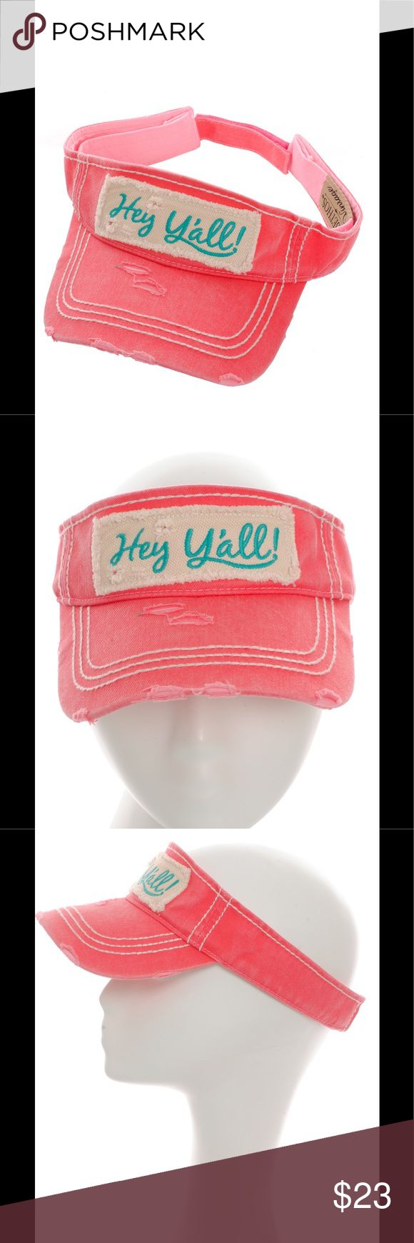 """Distressed Hey Y'all Sun Visor Country Hat Fuchsia Check out our other hats and accessories and bundle!   This Visor is Brand NEW and not used!   SORRY NO TRADES!  Embroidered Hey Y'all Sun Visor Distressed Vintage Style Adjustable Back Material : 100% Cotton Size : 7.50""""(L) X 7.50""""(W) X 4""""(H) - Brim Length: 2.75"""" Accessories Hats"""