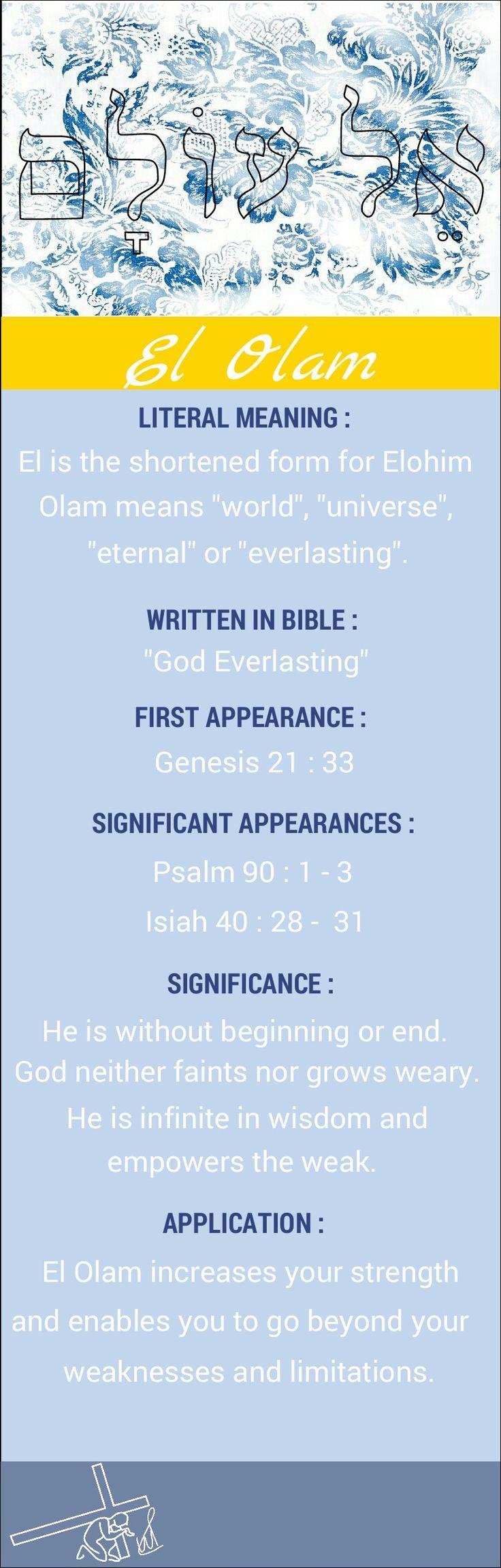 Names of God El Olam God Everlasting