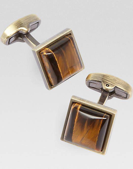 Joseph Abboud Tigereye and Antique Gold Cufflinks - Mens Cufflinks, Accessories - Men's Wearhouse
