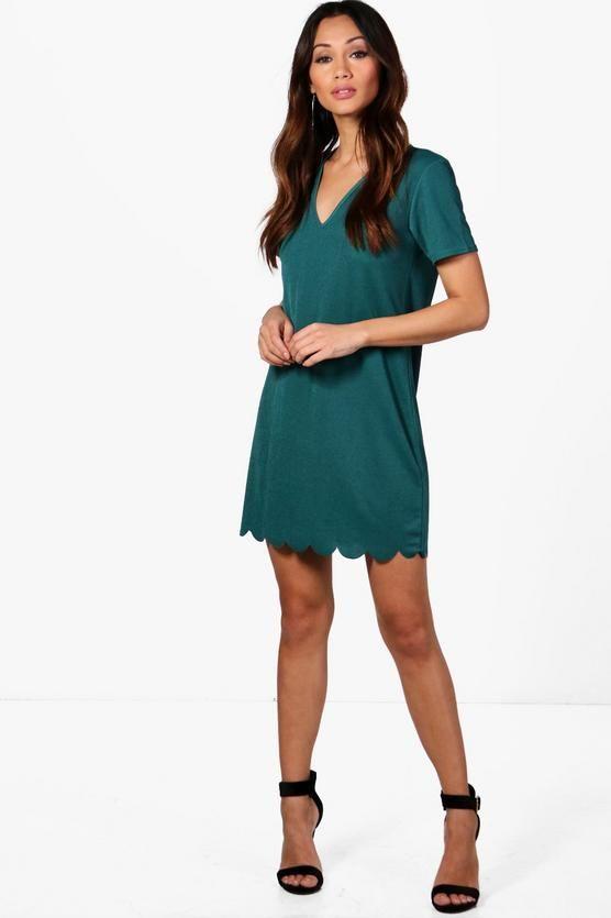 092169d1b2aa Petite Wendy Scallop Hem Plunge Shift Dress in green