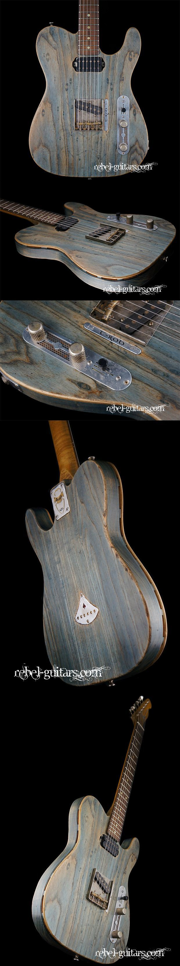 Scala Guitars T-Rod Prototype in Worn Denim. More at: http://rebel-guitars.com/scala-guitars-t-rod-prototype-in-worn-denim/