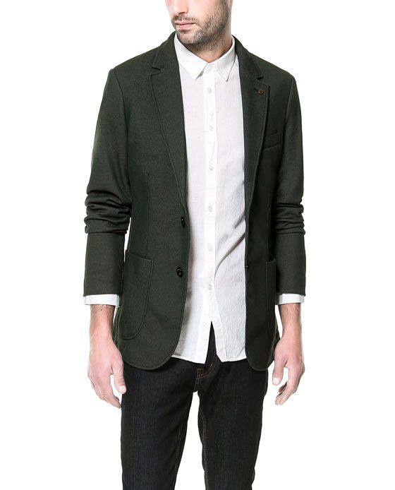 BLAZER WITH CONTRASTING ELBOW PATCHES from Zara
