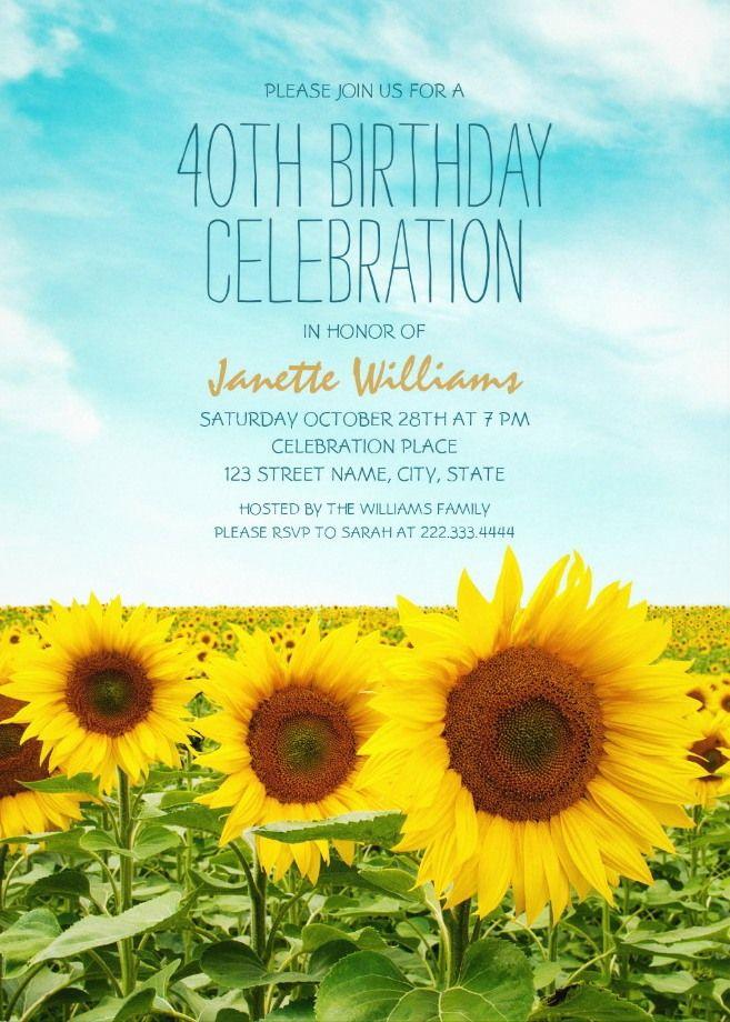 Country Sunflower Field 40th Birthday Invitations