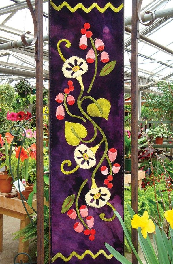 Fox Gloves and Morning Glories Wool Applique Runner by the Wooly Lady