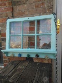 UPCYCLEd Window panes Distressed Six Pane Window Shelf