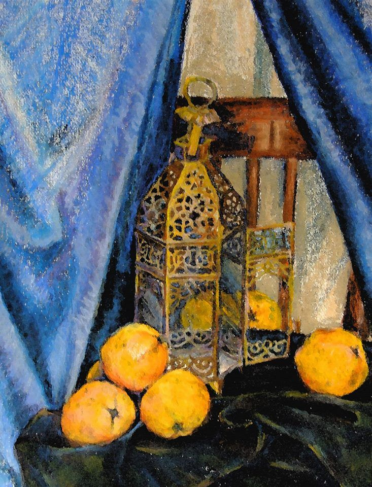"Still life, ""Moroccan lantern with oranges"" by Natalia Bienek"