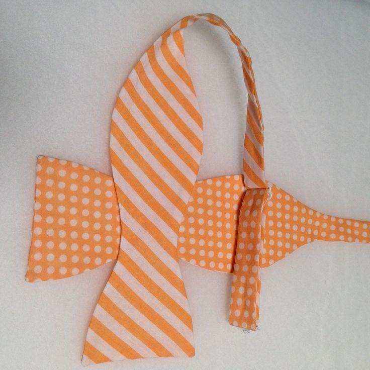 Double Sided, Orange & White Bow Tie, (Self-Tie)
