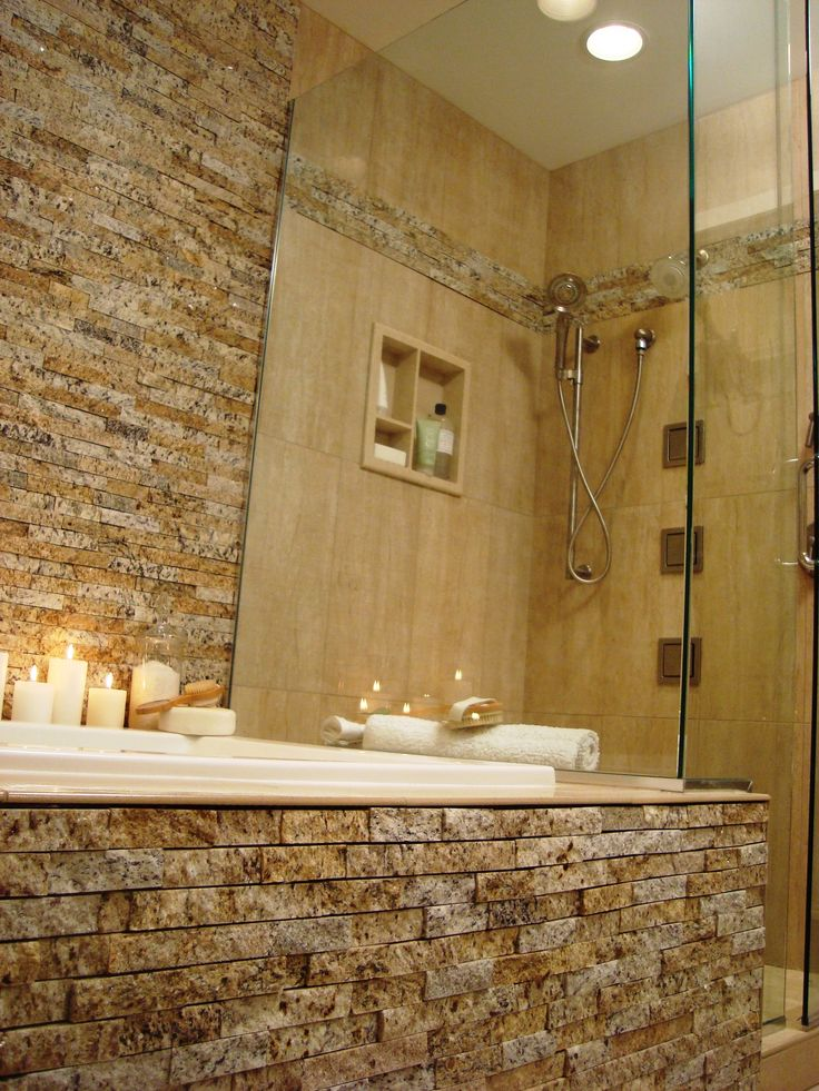 485 best bathroom backsplash tile images on pinterest for Granite and tile bathroom ideas