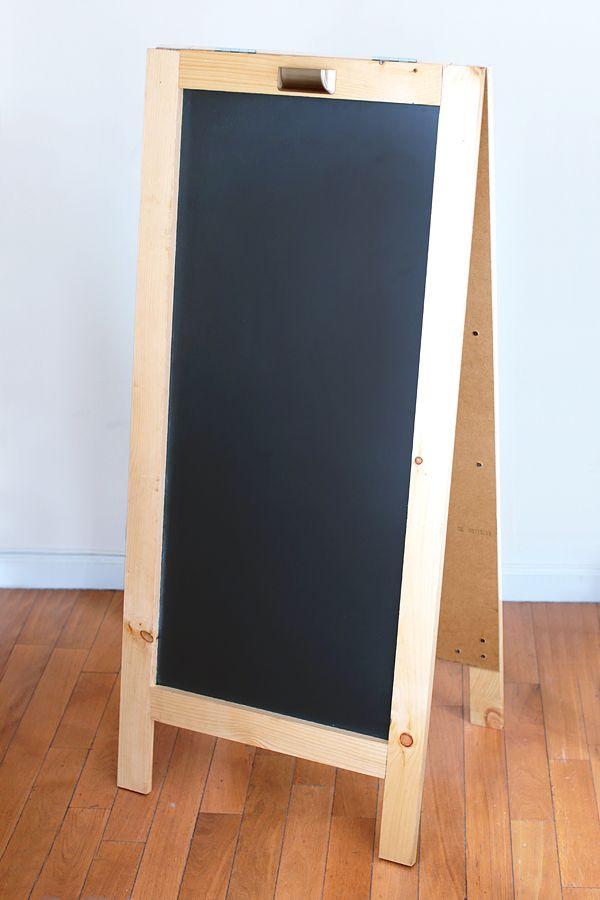 DIY Chalkboard easel from the apron blog http://ext.homedepot.com/community/blog/diy-chalkboard/#more-56685