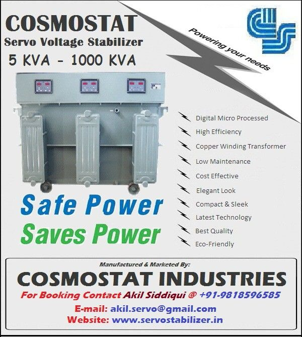 Latest technology. Industrial servo voltage stabilizer to control voltage fluctuation for more information please visit our website www.servostabilizer.in or call Akil Siddiqui 9818596585