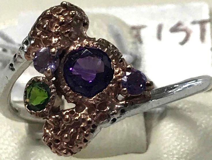Cute Unique FineArt Jewelry Amethyst Peridot 925 Sterling Silver Ring Sz 6.75
