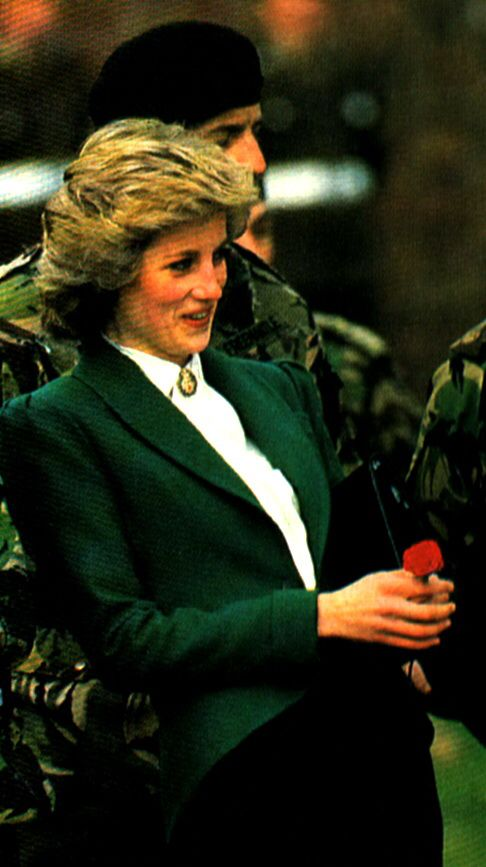 October 19, 1985: Princess Diana at the Royal Hampshire Regiment base in Berlin, Germany