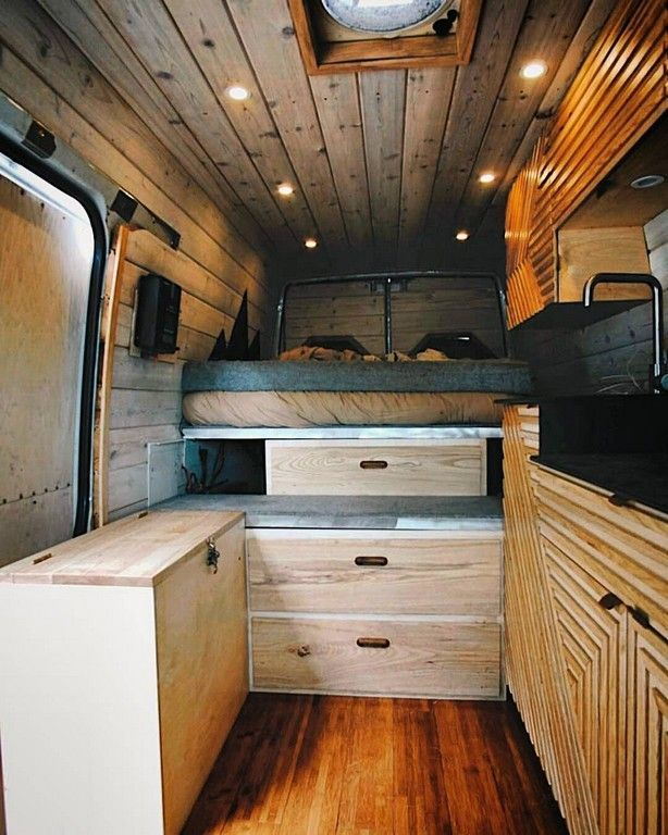 20 Awesome Wood Interior Ideas For Sprinter Van Camper With