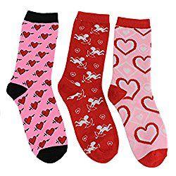 Valentine's Day Hearts Theme Women's Crew Socks (3 Pair) (Red Pink)