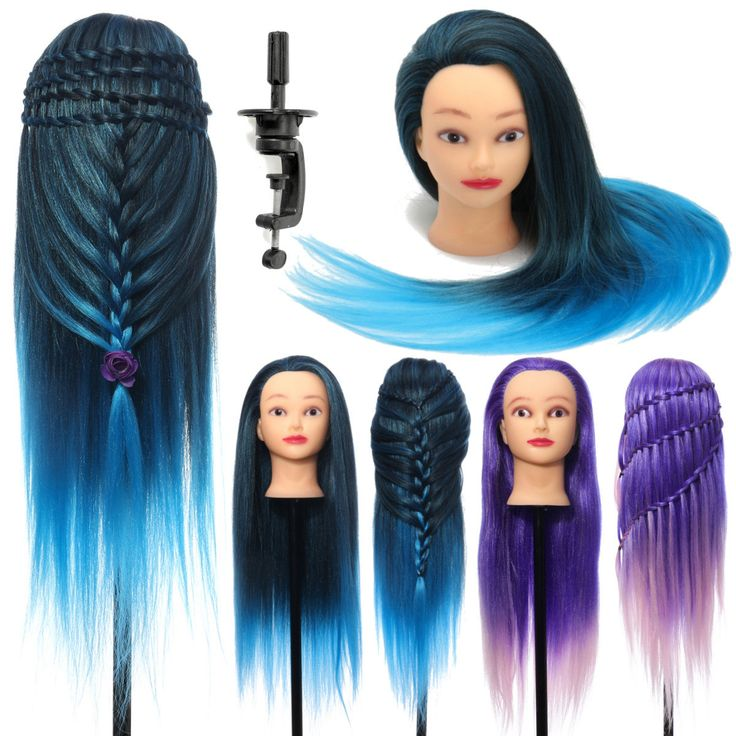 26 Inch Hairdressing Training Head Model High Temperature Fiber Long Hair With Clamp Practice