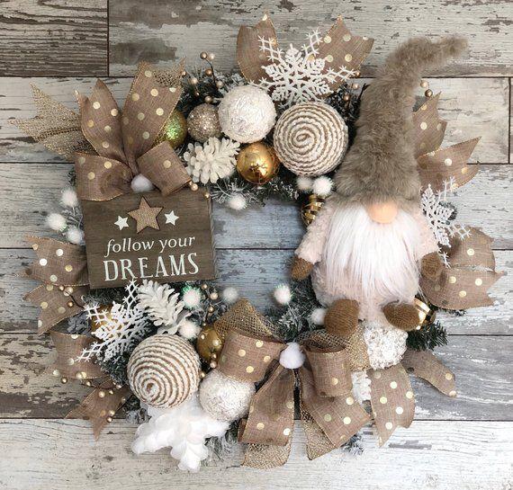 Christmas Gnome Wreath,Holiday Gnome,Whimsical Christmas Wreath,Elf Wreath,Christmas DoorWreath,Winter Wreath,Holiday Wreath,Christmas Decor