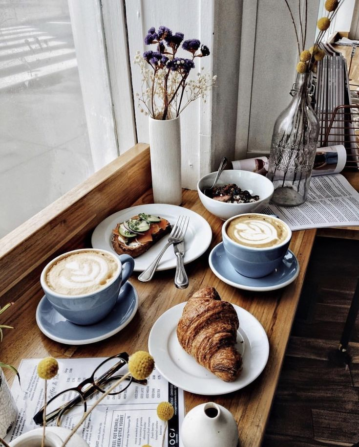 Coffee Breakfast Croissant Cafe Cute Coffee Shop Morning Latte Art Coffee Breakfast Breakfast Cafe Cafe Food