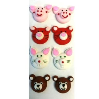 ANIMAL FACES ASSORTED 20MM 2D BOX OF 8
