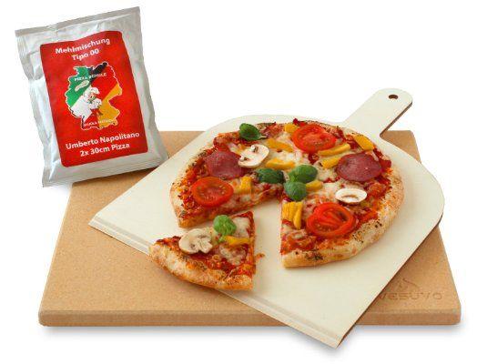 Vesuvo V38301 Pizzastein- / Brotbackbackstein Set für Backofen und Grill / eckig / 38x30 cm / mit Pizzaschaufel und Pizzamehl:Amazon.de:Küche & Haushalt