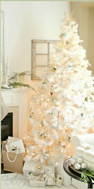 White on White Christmas tree...All Things Shabby and Beautiful