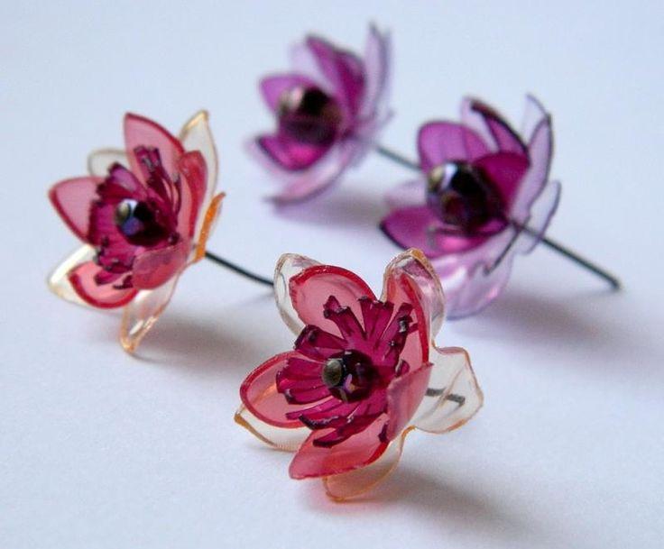 Страната отвъд дъгата: Обици цветя - тур втори - Flower earrings from plastic bottles