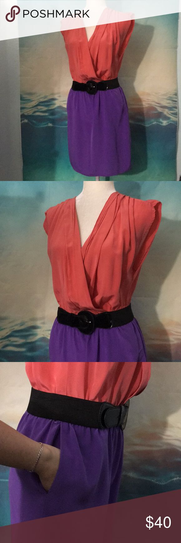 Retro Looking Charlie Jade Silk Dress C Amazing retro looking dress. Coral and purple. 100% Silk dress with pockets. Comes with the black belt. Great condition. Charlie Jade Dresses