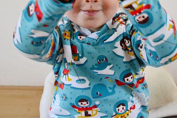 Capuchontrui organic cotton petrolblauw tricot eskimo door GrasGroen