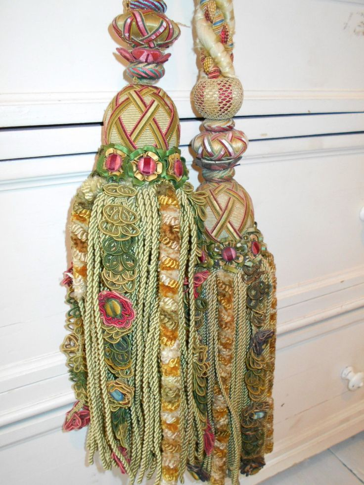 FINE ANTIQUE SILK PASSEMENTERIE TASSEL CURTAIN TIE BACK 1800's COUNTRY HOUSE 25 in Antiques, Fabric/ Textiles, Embroidery | eBay