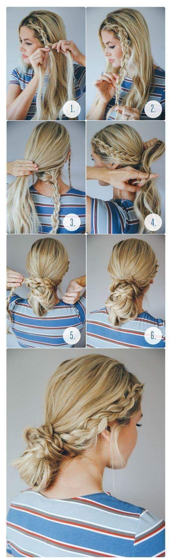 Step by Step Tutorial Loose Side Braid Low Bun #BunHairstylesLow