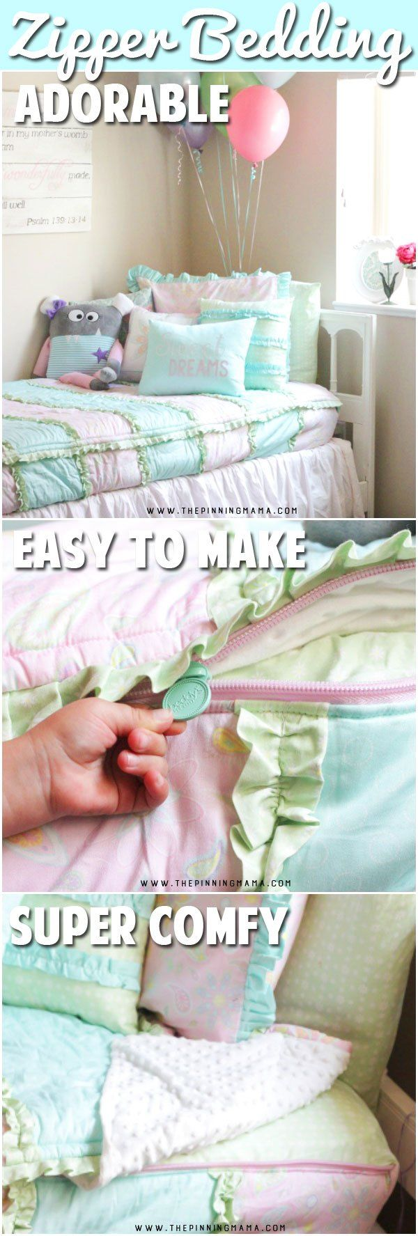 Cutest kids bedding! This bedding zips up the sides so the you always have a perfectly made bed! Even the youngest kids can make this bed. It is one piece expertly made to replace the comforter, flat sheet, fitted sheet, and cuddle blanket. I love this!!