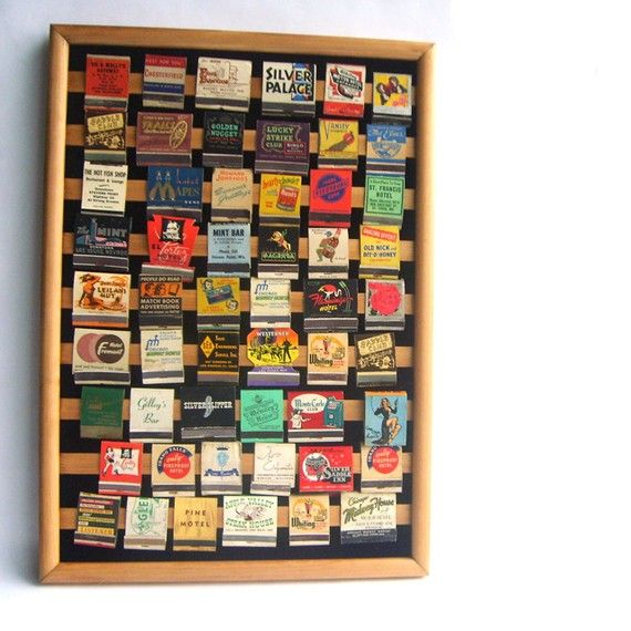 Collection of Vintage Matchbook Covers in Display Frame