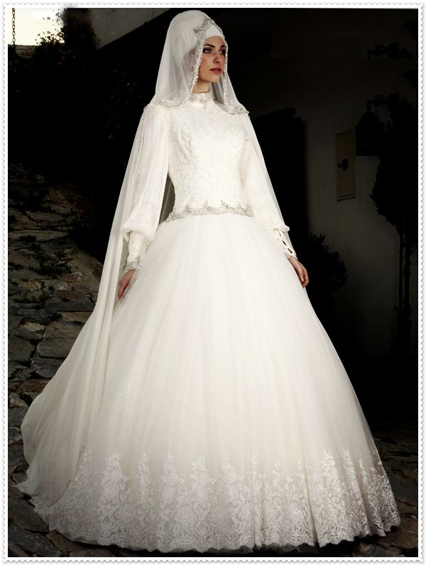 Ball Gown with Hijab High Neck Long Sleeve Muslim Turkey Wedding Gowns Made in China