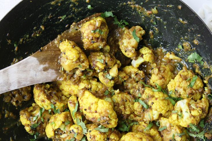 Lucknowi Achari Gobi Cauliflower cooked in pickling spices with turmeric, chilli and mango powder