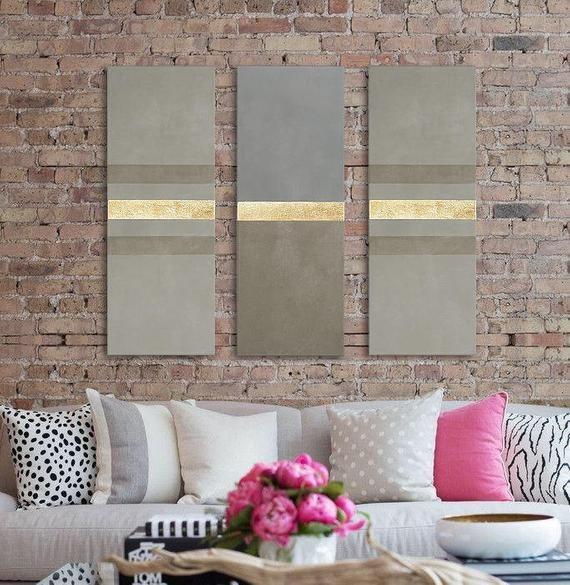 Set Of 3 Vertical Modern Minimalist Wall Art Decor Etsy Minimalist Wall Art Large Abstract Painting Home Decor Wall Art