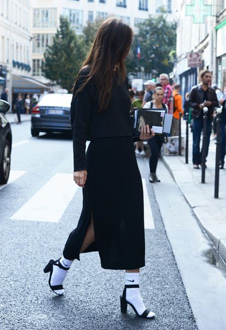 7 ways to wear socks and heels this winter Nike socks with heels and a maxi dress