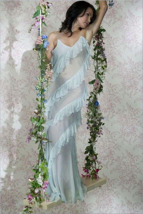 Long Silk Chiffon Nightdress - Jane Woolrich 7871
