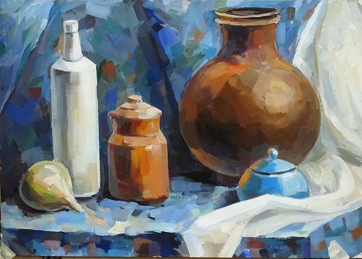 «Учебный натюрморт, работа выполнена нашей ученицей. #живопись #натюрморт #темпера #творчество #картина #художник #арт #искусство #painting #picture #art…»