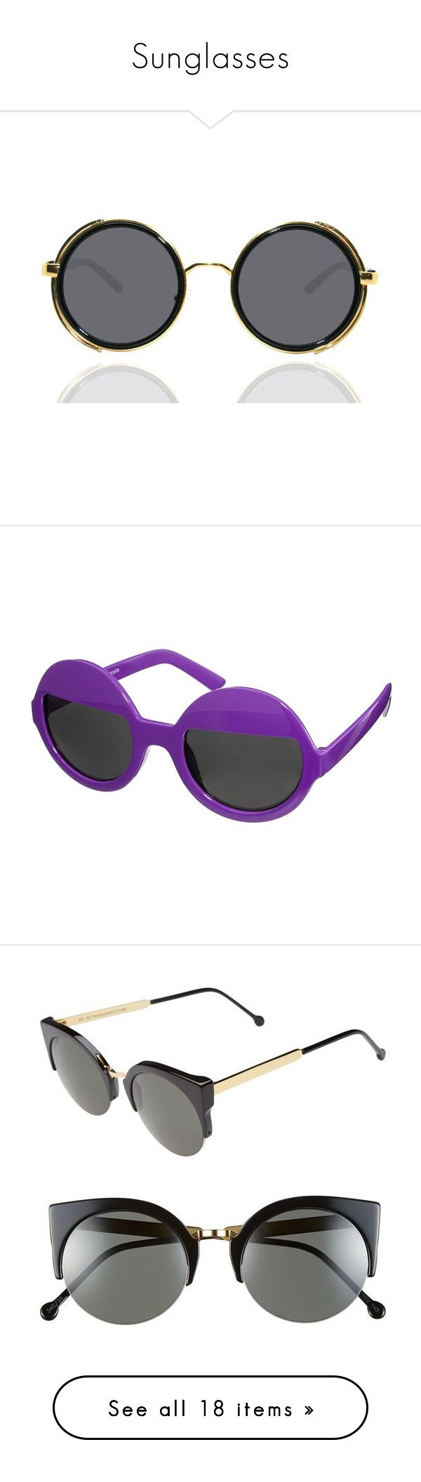 """""""Sunglasses"""" by janinati ❤ liked on Polyvore featuring accessories, eyewear, sunglasses, quay eyewear, uv protection glasses, vintage style glasses, vintage style sunglasses, quay sunglasses, purple and round frame glasses"""