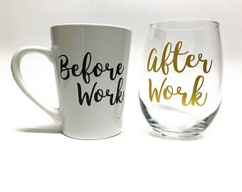 Back to school teacher gift! Wine glass/Coffee Cup set ***Before school coffee cup and After school wine glass - Christmas Gift for teacher