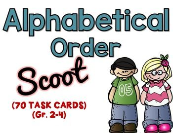 ALPHABETICAL ORDER TASK CARDS - ScootThere are 2 sets of 35 task cards, which are grades 2-4 aligned.These task cards include 3, 4, and 5 words that ask students to alphabetize the words based on the first letter, the first two letters and the first three letters.Aligned to CCSS.ELA-LITERACY.L.2.2.EConsult reference materials, including beginning dictionaries, as needed to check and correct spellings.CCSS.ELA-LITERACY.L.3.4.DUse glossaries or beginning dictionaries, both print and digital…