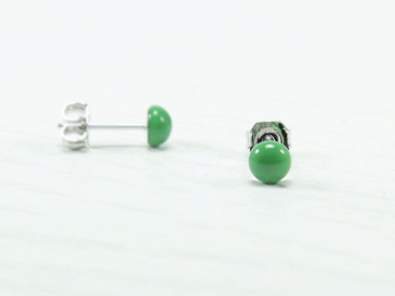 Green Stud Earrings 4mm  Apple Green Earrings  Tiny Ear by biesge, http://www.biesge.etsy.com/ #earrings #studearrings #studs #earstuds #brightearrings #brightstuds #dotearrings #dotstuds #tinyearrings #tinystuds #jewelry #fashion #accessories