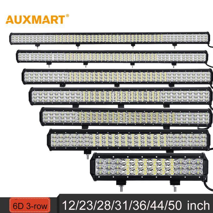"""Auxmart 12"""" 23"""" 28"""" 31"""" 36"""" 44"""" 50"""" 6D 3-row LED Light Bar combo beam Offroad work light 12V 24v SUV ATV 4x4 4WD trailer trucks"""