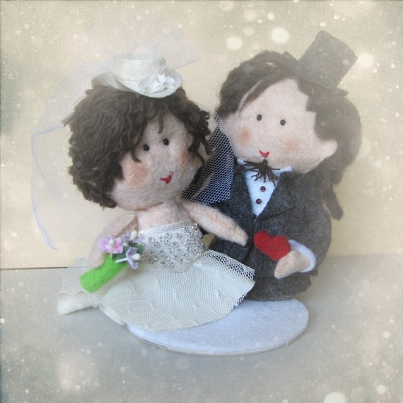 Personalized wedding cake topper  custom bride + groom