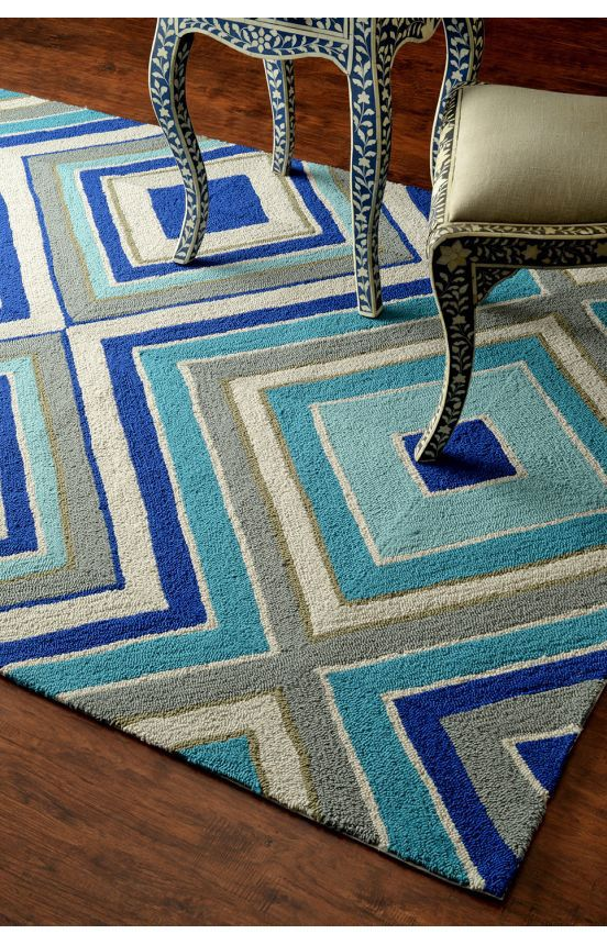 Rugs USA Hacienda Outdoor Blue Rug For Dining Room Is