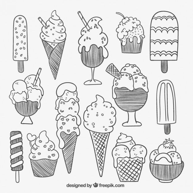 Free vector Sketchy ice creams #12799