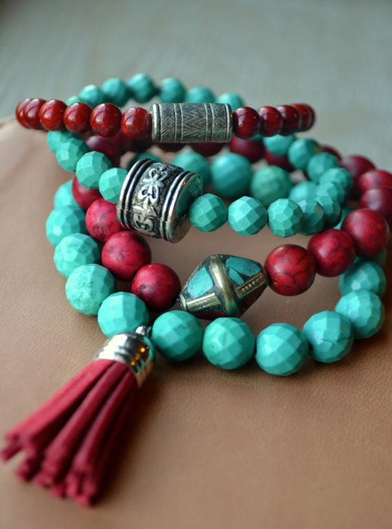 Boho, Bohemian  Beaded Stretch Bracelets with Tibetan Bead Accents and Tassel, Set of Four
