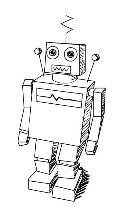 Learn how to draw a classic robot in this easy step by