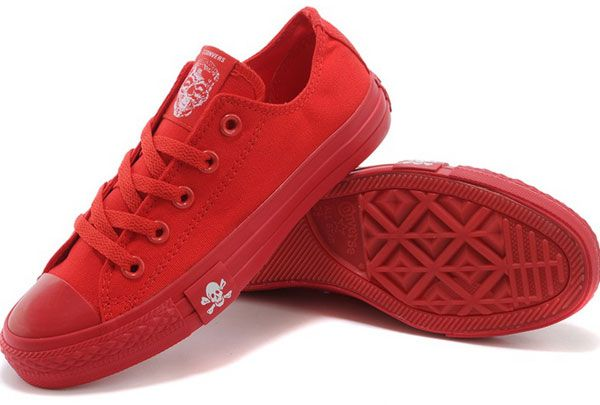 #converse Newest Pure Red Converse Chuck Taylor All Star Low Tops Canvas Sneakers